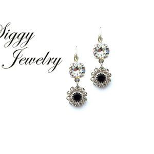 Swarovski Black and Clear Flower Dangle Earrings